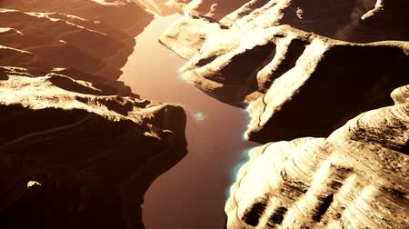 estilizado : Aerial Shot of a Rocky Canyon and a Lake 3D Animation 7 stylized