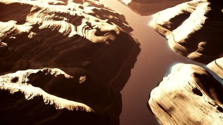 mês : Aerial Shot of a Rocky Canyon and a Lake 3D Animation 8 stylized