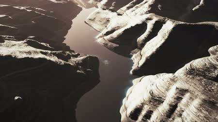 mês : Aerial Shot of a Rocky Canyon and a Lake 3D Animation 11 stylized