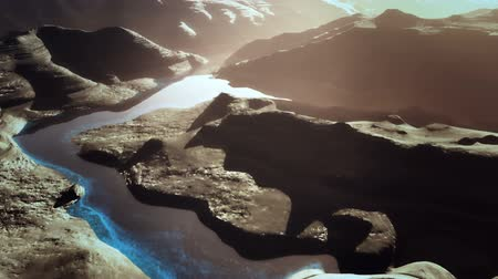 hiba : Aerial Shot of a Rocky Canyon and a Lake 3D Animation 13 stylized