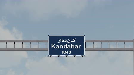 kandahar : 4K Passing under Kandahar Afghanistan Highway Road Sign  Photo Realistic 3D Animation with Matte 4K 4096x2304 ultra high definition