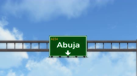 abuja : 4K Passing under Abuja Nigeria Highway Road Sign  Photo Realistic 3D Animation with Matte 4K 4096x2304 ultra high definition