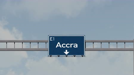 placa : 4K Passing under Accra Ghana Highway Road Sign  Photo Realistic 3D Animation with Matte 4K 4096x2304 ultra high definition