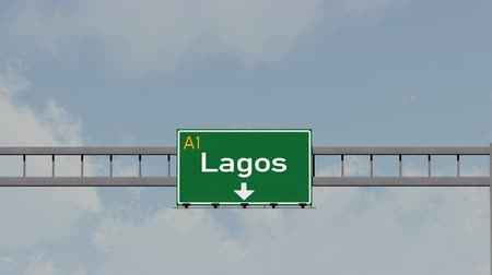 city limits : 4K Passing under Lagos Nigeria Highway Road Sign  Photo Realistic 3D Animation with Matte 4K 4096x2304 ultra high definition