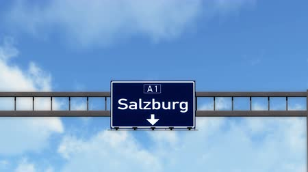 city limits : 4K Passing under Salzburg Austria Highway Road Sign  Photo Realistic 3D Animation with Matte 4K 4096x2304 ultra high definition