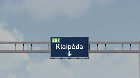 klaipeda : 4K Passing under Klaipeda Lithuania Highway Road Sign  Photo Realistic 3D Animation with Matte 4K 4096x2304 ultra high definition