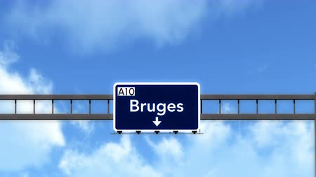 belga : 4K Passing under Bruges Belgium Highway Road Sign  Photo Realistic 3D Animation with Matte 4K 4096x2304 ultra high definition Stock Footage