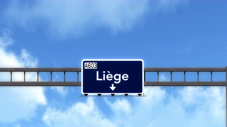 belga : 4K Passing under Liege Belgium Highway Road Sign  Photo Realistic 3D Animation with Matte 4K 4096x2304 ultra high definition