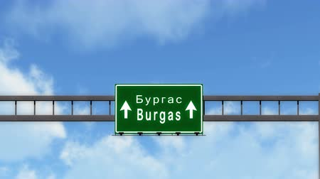 bulgarije : 4K Passen onder Burgas Bulgarije Highway Road Sign fotorealistische 3D animatie met matte 4K 4096x2304 ultra high definition