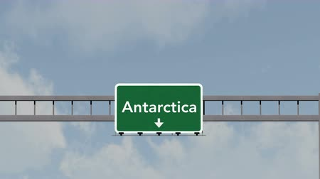 cold desert : 4K Passing under Antarctica Cold Desert Highway Road Sign  Photo Realistic 3D Animation with Matte 4K 4096x2304 ultra high definition