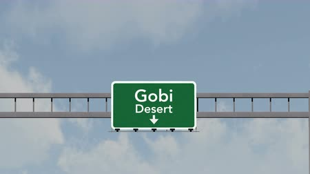 moğolistan : 4K Passing under Gobi Desert Mongolia Highway Road Sign  Photo Realistic 3D Animation with Matte 4K 4096x2304 ultra high definition