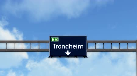 trondheim : 4K Passing under Trondheim Norway Highway Road Sign  Photo Realistic 3D Animation with Matte 4K 4096x2304 ultra high definition