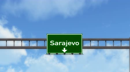 herzegovina : 4K Passing under Sarajevo Bosnia and Herzegovina Highway Road Sign  Photo Realistic 3D Animation with Matte 4K 4096x2304 ultra high definition