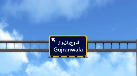 paquistão : 4K Passing under Gujranwala Pakistan Highway Road Sign  Photo Realistic 3D Animation with Matte 4K 4096x2304 ultra high definition