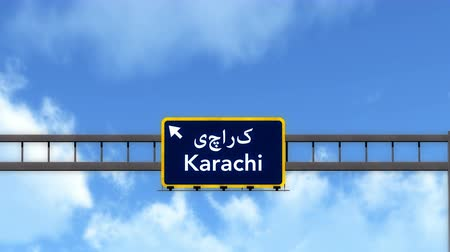 Пакистан : 4K Passing under Karachi Pakistan Highway Road Sign  Photo Realistic 3D Animation with Matte 4K 4096x2304 ultra high definition