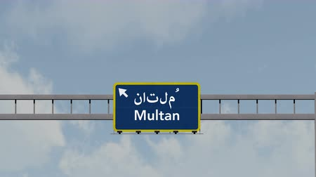Пакистан : 4K Passing under Multan Pakistan Highway Road Sign  Photo Realistic 3D Animation with Matte 4K 4096x2304 ultra high definition