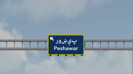 Пакистан : 4K Passing under Peshawar Pakistan Highway Road Sign  Photo Realistic 3D Animation with Matte 4K 4096x2304 ultra high definition
