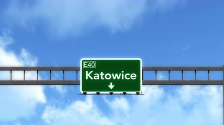 katowice : 4K Passing under Katowice Poland Highway Road Sign  Photo Realistic 3D Animation with Matte 4K 4096x2304 ultra high definition Wideo