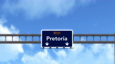pretoria : 4K Passing under Pretoria South Africa Highway Road Sign  Photo Realistic 3D Animation with Matte 4K 4096x2304 ultra high definition