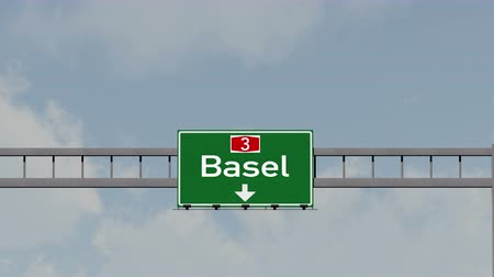 suisse : 4K Passing under Basel Switzerland Highway Road Sign  Photo Realistic 3D Animation with Matte 4K 4096x2304 ultra high definition
