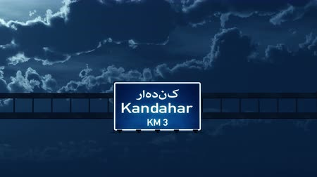 kandahar : 4K Passing under Kandahar Afghanistan Highway Road Sign at Night Photo Realistic 3D Animation with Matte 4K 4096x2304 ultra high definition