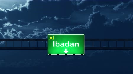 city limits : 4K Passing under Ibadan Nigeria Highway Road Sign at Night Photo Realistic 3D Animation with Matte 4K 4096x2304 ultra high definition