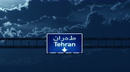 teheran : 4K Passing under Tehran Iran Highway Road Sign at Night Photo Realistic 3D Animation with Matte 4K 4096x2304 ultra high definition Stock Footage