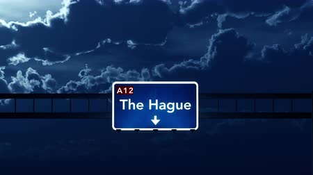 holandês : 4K Passing under The Hague Netherlands Highway Road Sign at Night Photo Realistic 3D Animation with Matte 4K 4096x2304 ultra high definition