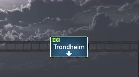 trondheim : 4K Passing under Trondheim Norway Highway Road Sign at Night Photo Realistic 3D Animation with Matte 4K 4096x2304 ultra high definition Stock Footage
