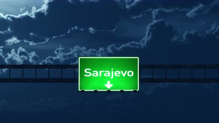 herzegovina : 4K Passing under Sarajevo Bosnia and Herzegovina Highway Road Sign at Night Photo Realistic 3D Animation with Matte 4K 4096x2304 ultra high definition
