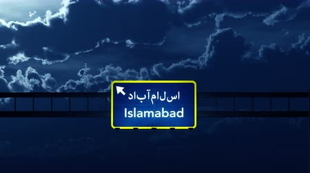 Пакистан : 4K Passing under Islamabad Pakistan Highway Road Sign at Night Photo Realistic 3D Animation with Matte 4K 4096x2304 ultra high definition