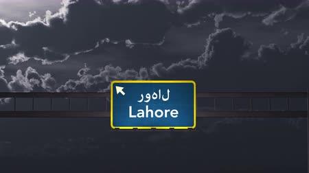 Пакистан : 4K Passing under Lahore Pakistan Highway Road Sign at Night Photo Realistic 3D Animation with Matte 4K 4096x2304 ultra high definition