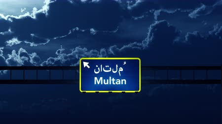 Пакистан : 4K Passing under Multan Pakistan Highway Road Sign at Night Photo Realistic 3D Animation with Matte 4K 4096x2304 ultra high definition