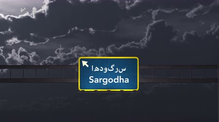 Пакистан : 4K Passing under Sargodha Pakistan Highway Road Sign at Night Photo Realistic 3D Animation with Matte 4K 4096x2304 ultra high definition Стоковые видеозаписи