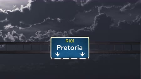 pretoria : 4K Passing under Pretoria South Africa Highway Road Sign at Night Photo Realistic 3D Animation with Matte 4K 4096x2304 ultra high definition