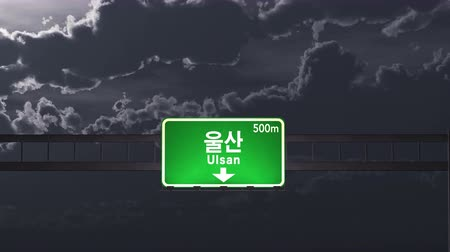 ulsan : 4K Passing under Ulsan South Korea Highway Road Sign at Night Photo Realistic 3D Animation with Matte 4K 4096x2304 ultra high definition