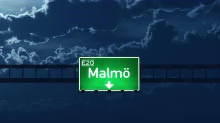 Швеция : 4K Passing under Malmo Sweden Highway Road Sign at Night Photo Realistic 3D Animation with Matte 4K 4096x2304 ultra high definition