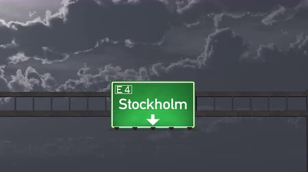 estocolmo : 4K Passing under Stockholm Sweden Highway Road Sign at Night Photo Realistic 3D Animation with Matte 4K 4096x2304 ultra high definition