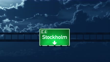 Швеция : 4K Passing under Stockholm Sweden Highway Road Sign at Night Photo Realistic 3D Animation with Matte 4K 4096x2304 ultra high definition
