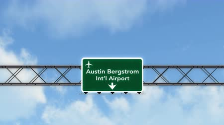 útjelzés : 4K Passing Austin under USA Airport Highway Sign with Matte Photorealistic 3D Animation Cinema 4K 4096x2304