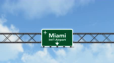 Майами : 4K Passing under Miami USA Airport Highway Sign with Matte Photorealistic 3D Animation Cinema 4K 4096x2304