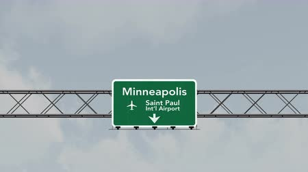 útjelzés : 4K Passing under Minneapolis USA Airport Highway Sign with Matte Photorealistic 3D Animation Cinema 4K 4096x2304