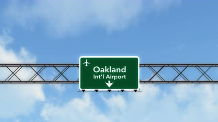 Észak amerika : 4K Passing under Oakland USA Airport Highway Sign with Matte Photorealistic 3D Animation Cinema 4K 4096x2304 Stock mozgókép