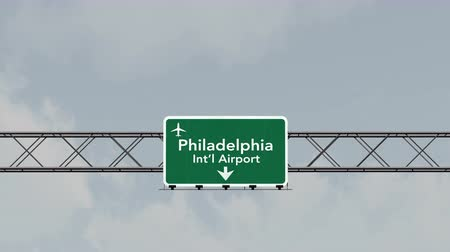 philadelphie : 4K Passing under Philadelphia USA Airport Highway Sign with Matte Photorealistic 3D Animation Cinema 4K 4096x2304