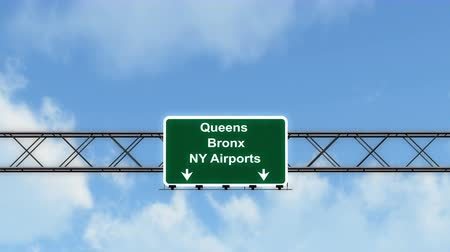 bronx : 4K Passing under Queens Brony NY Airports USA Airport Highway Sign with Matte Photorealistic 3D Animation Cinema 4K 4096x2304 Stock Footage