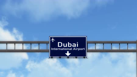 эмираты : 4K Passing under Dubai United Arab Emirates Airport Highway Sign with Matte 3D Animation Cinema 4K 4096x2304 ultra high definition Стоковые видеозаписи
