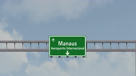 manaus : 4K Passing under Manaus Brazil Airport Highway Sign with Matte 3D Animation Cinema 4K 4096x2304 ultra high definition