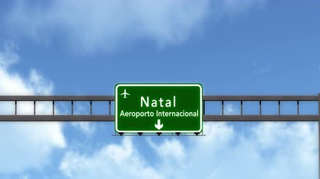 natal : 4K Passing under Natal Brazil Airport Highway Sign with Matte 3D Animation Cinema 4K 4096x2304 ultra high definition