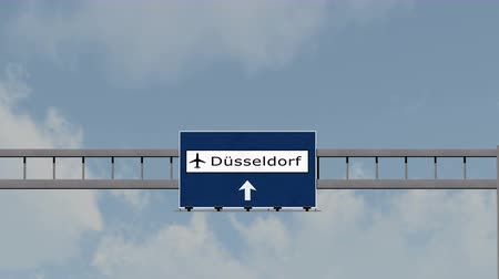 dusseldorf : 4K Passing under Dusseldorf Germany Airport Highway Sign with Matte 3D Animation Cinema 4K 4096x2304 ultra high definition