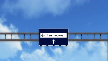 hanover : 4K Passing under Hanover Germany Airport Highway Sign with Matte 3D Animation Cinema 4K 4096x2304 ultra high definition Stock Footage